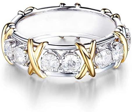 Fxbar Elegant Shine Zircon Rings Women Chic Two-Tone Engagement Wedding Band Jewelry Couple Dainty Anniversary Present (,)