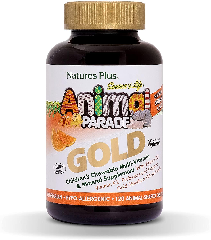 NaturesPlus Animal Parade Source of Life Gold Children's Multivitamin - Orange Flavor - 120 Chewable Animal Shaped Tablets - Immune Support Supplement - Gluten-Free - 60 Servings