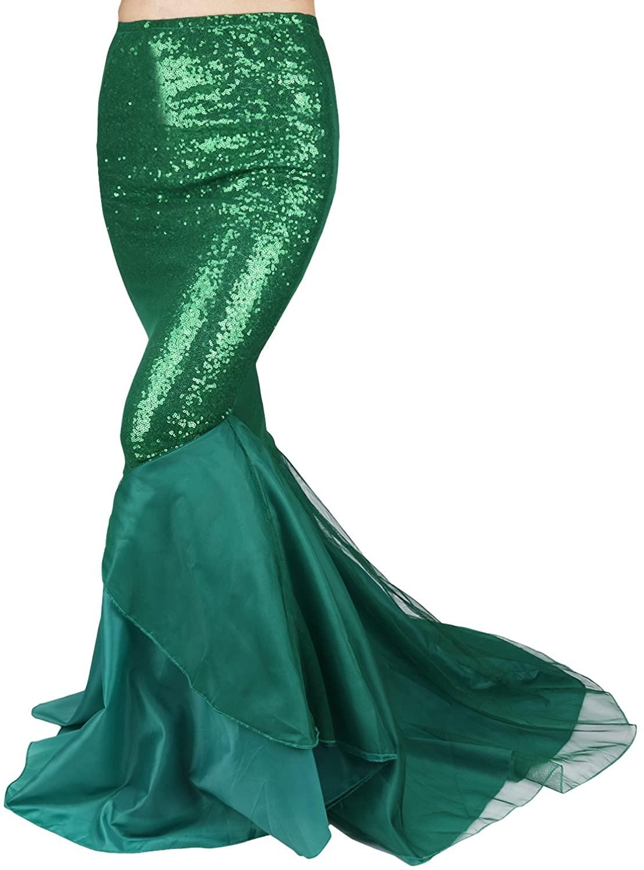 TiaoBug Womens Shiny Sequins Mermaid Asymmetric Tail Skirt Halloween Costumes Dress