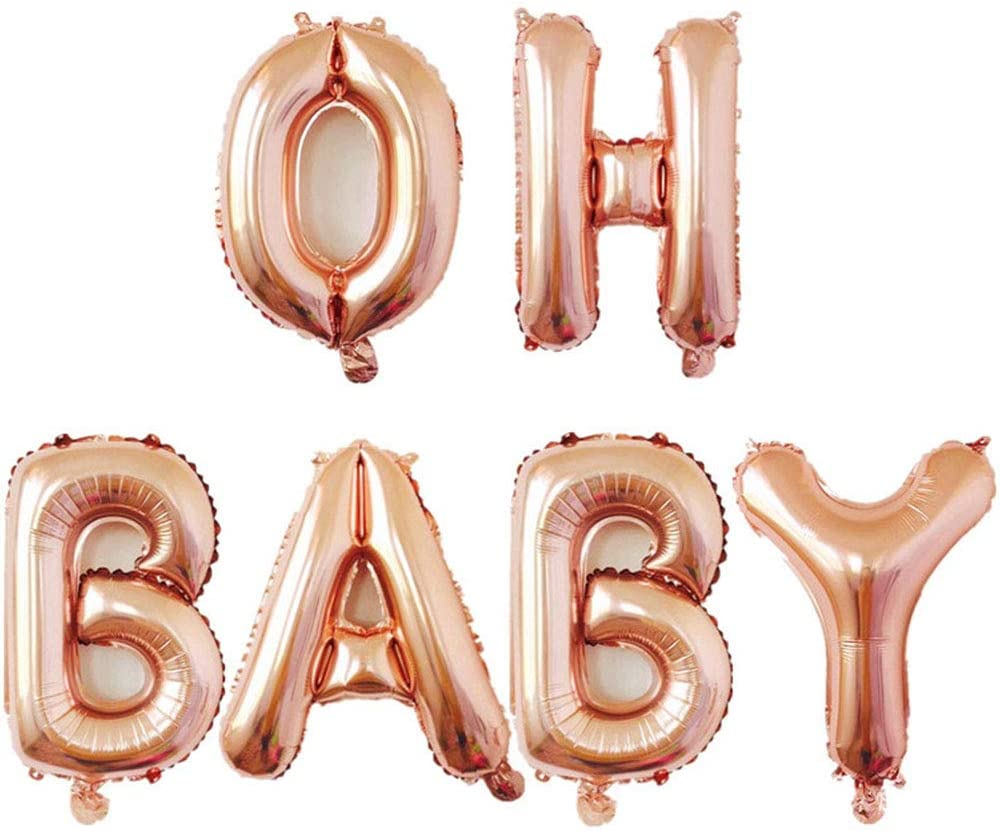 AnnoDeel 16inch OH BABY Balloons, Rose Gold Letter Foil Balloons for Baby First Birthday Baby Show 1st Party Supplies Decorations