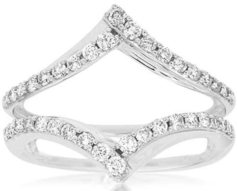 WIDE 0.50CT DIAMOND 14KT WHITE GOLD 3D CLASSIC V SHAPE INSERT ENGAGEMENT RING