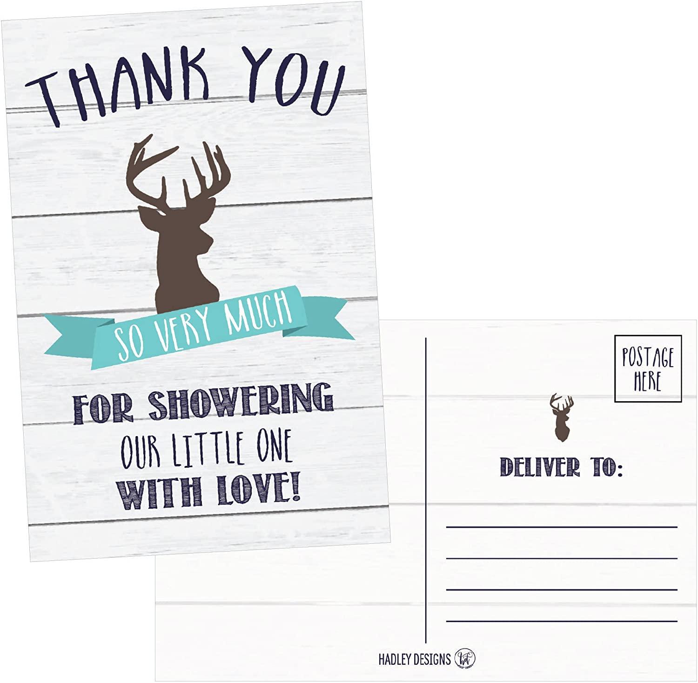 50 4x6 Rustic Deer Baby Shower Thank You Postcards Woodland Animals Bulk, Modern Cute Boho Blank Thanks Note Card For Girl or Boy Stationery Appreciation Set