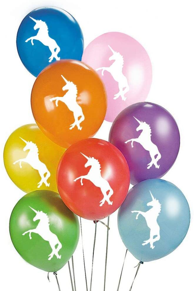 Magical Rainbow Unicorns 24 Count Party Balloon Pack - Large 12