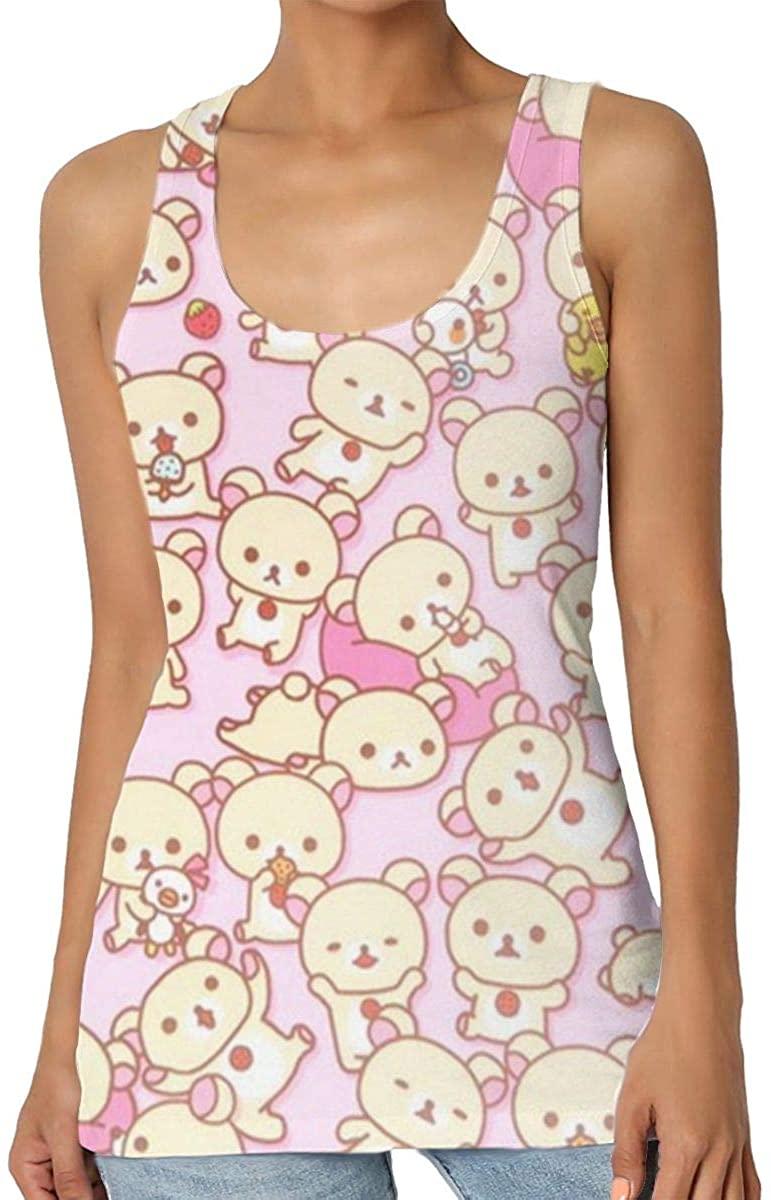 Yongchuang Feng Bear-Kawaii-Pink Women's Tank Top T-Shirt 3D Printed Sleeveless Vest