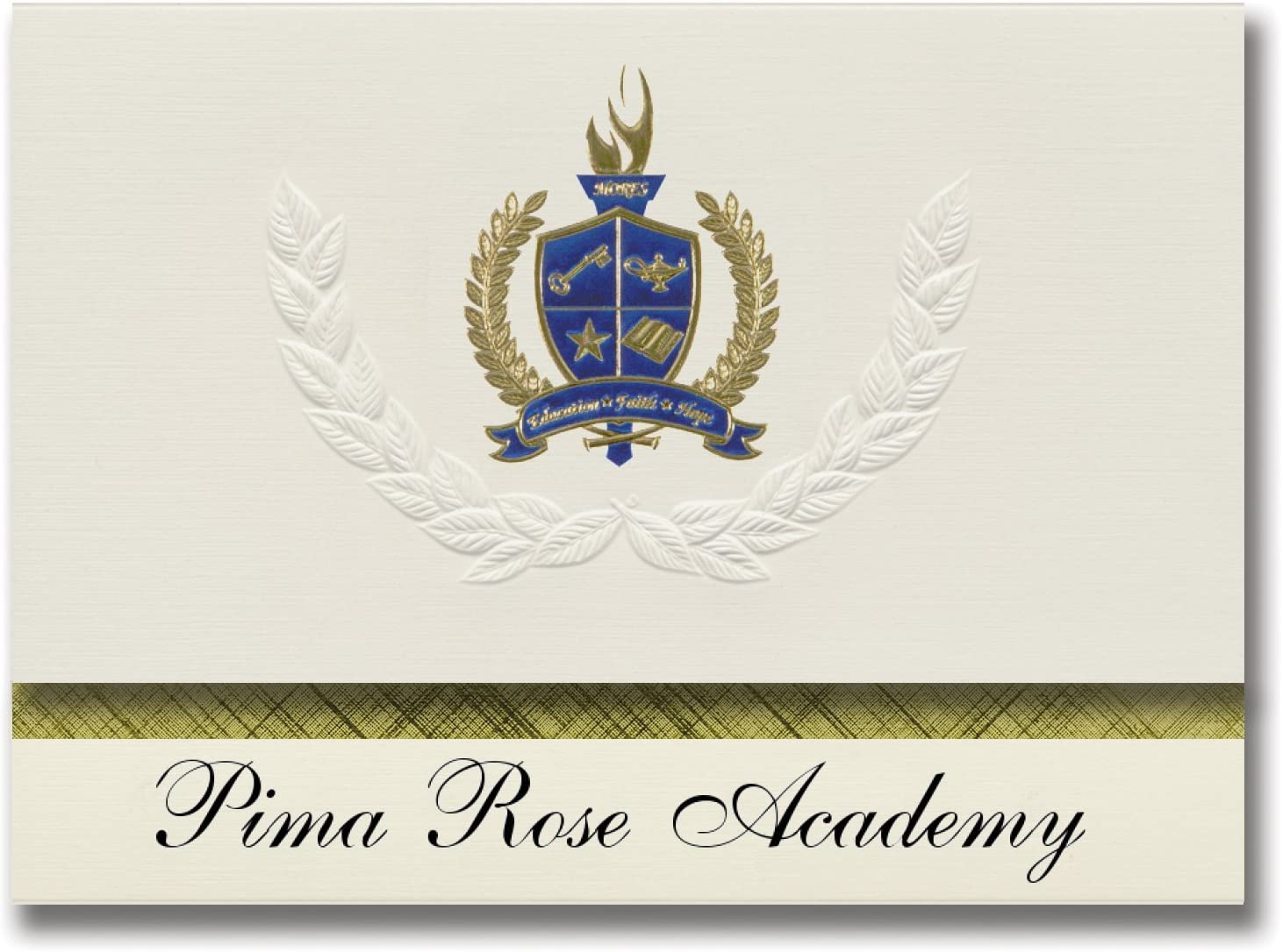 Signature Announcements Pima Rose Academy (Tucson, AZ) Graduation Announcements, Presidential style, Elite package of 25 with Gold & Blue Metallic Foil seal