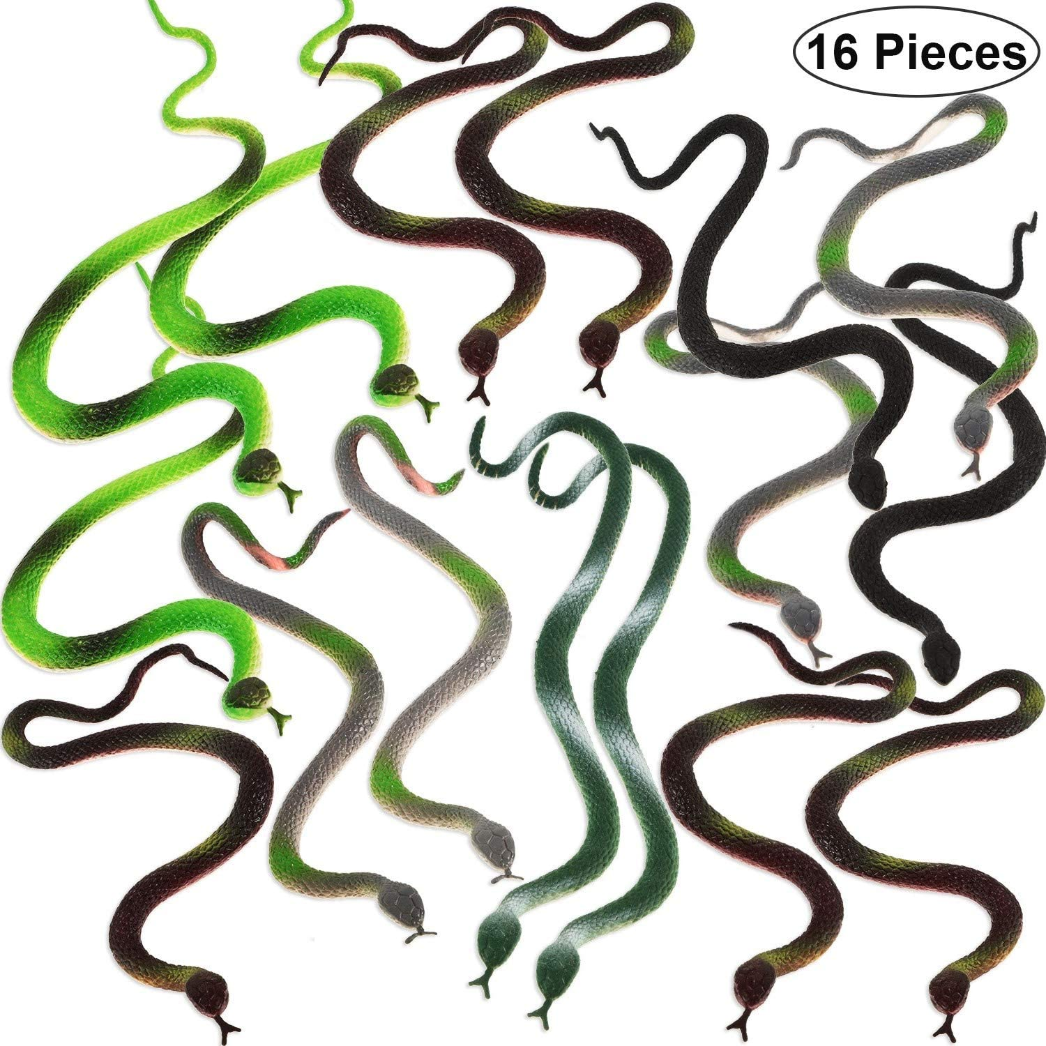 16 Pieces Small Rubber Snakes 14 Inch Assorted Fake Snakes Realistic Rain Forest Snakes Toys for Boys Gag Toys, Prop, Carnival Game Prizes and Party Decorations