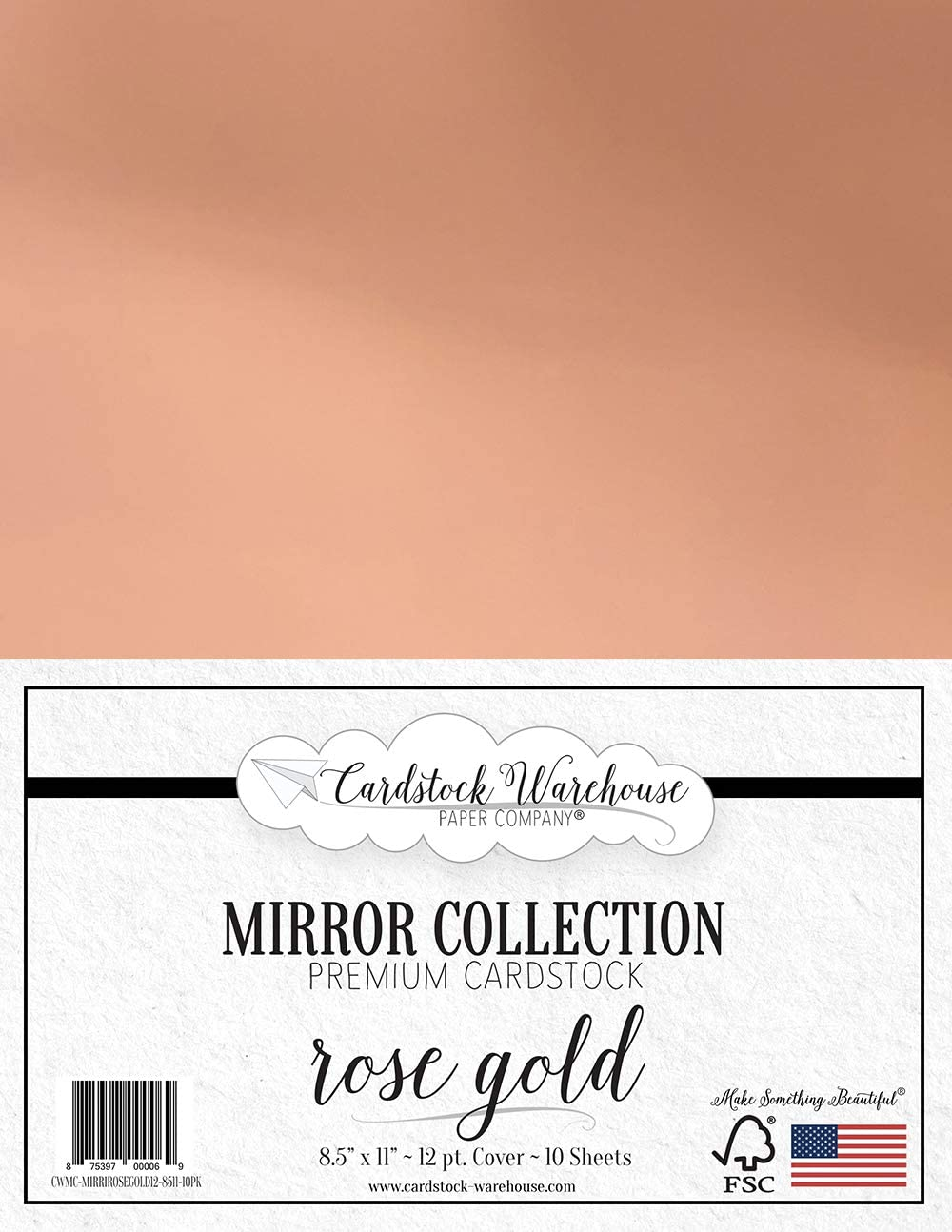 Mirror Rose Gold Foil Mirror Cardstock 8.5 X 11 inch - 100 lb / 12Pt - 10 Sheets from Cardstock Warehouse
