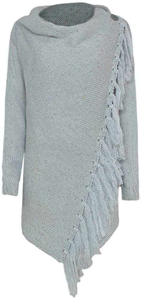 KYLEON Women's Tassel Hem Sweater Long Cardigan Knitwer Pullover Poncho Coat Casual Oversized Jumper Shirts Blouses