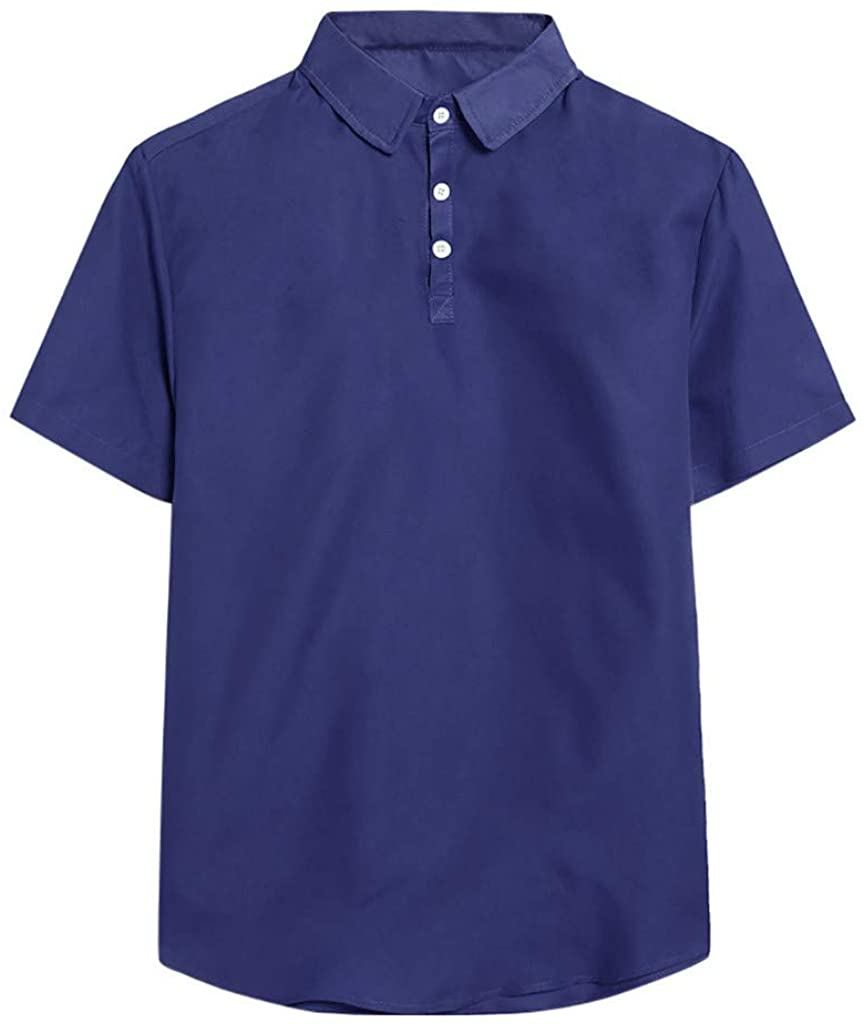 Mens Summer Casual Fashion Short Sleeve Thin Lapel Pure Color Shirt Top Blouse