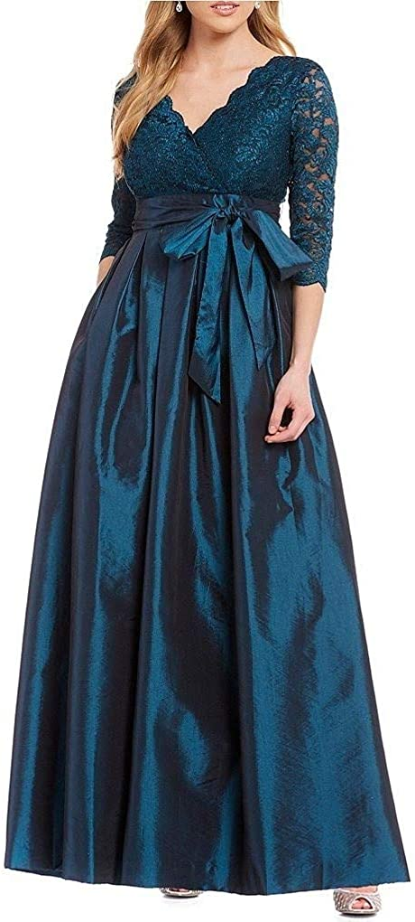 LY-VV Womens Plus Size Cross Front V Neck High Waist Casual Boho Splicing Long Pleated Maxi Dress