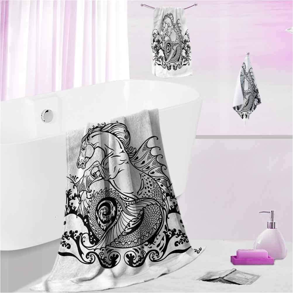 DayDayFun Custom Towels Black and White Highly Absorbent Machine Washable Fantasy Seahorse L - Contain 1 Bath Towel 1 Hand Towel 1 Washcloth