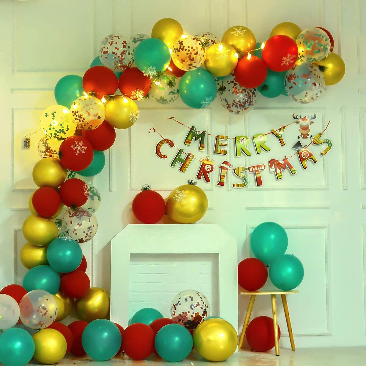 183 Pieces Christmas Balloon Arch Garland Kit, Include Green Red Pearlescent Balloon Red Green Confetti Balloons Gold Metallic Balloons, Pine Needles, Snowflake, Strip Tape, Adhesive Dots, Balloon Air Pump, Merry Christmas Banner, Snowflake lights