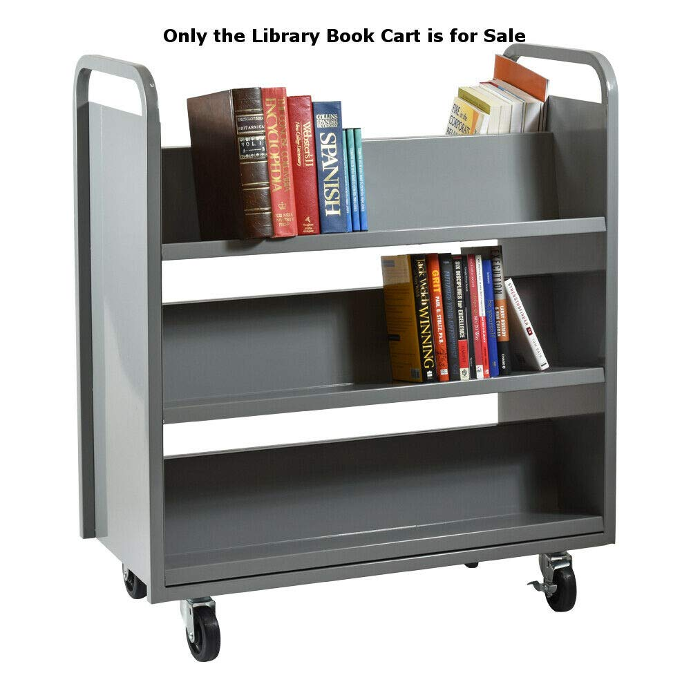 Library Book Cart Double Sided with 6 Slanted Shelves 37 W x 18 D x 42 H Inches