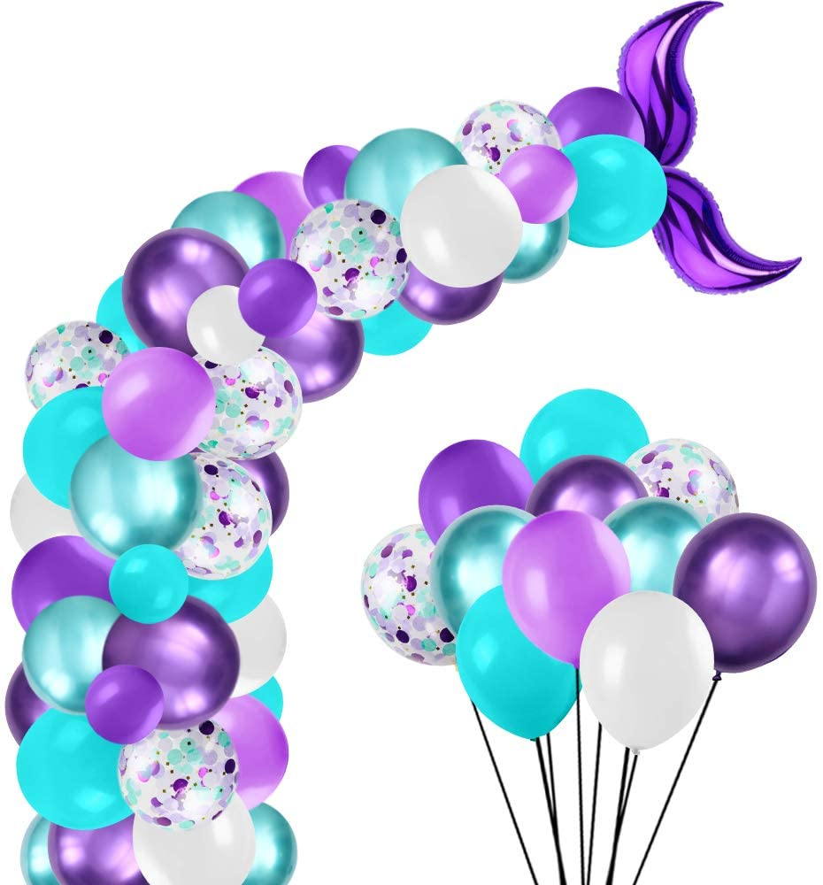 Mermaid Party Supplies Balloons Arch Garland Kit, for Girl Birthday Party Decorations Mermaid Ocean Theme Party Supplies,Baby Shower (105PCS)