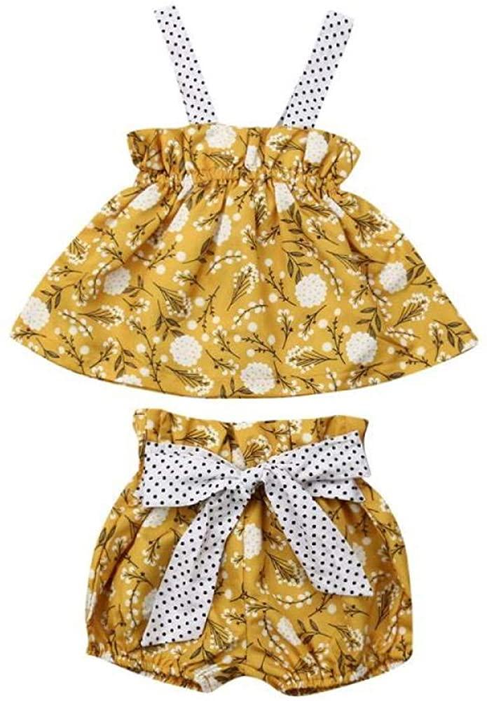 Newborn Baby Girls Flroal Print Ruffle Sleeveless Crop Top and Bowknot Shorts Clothes Set