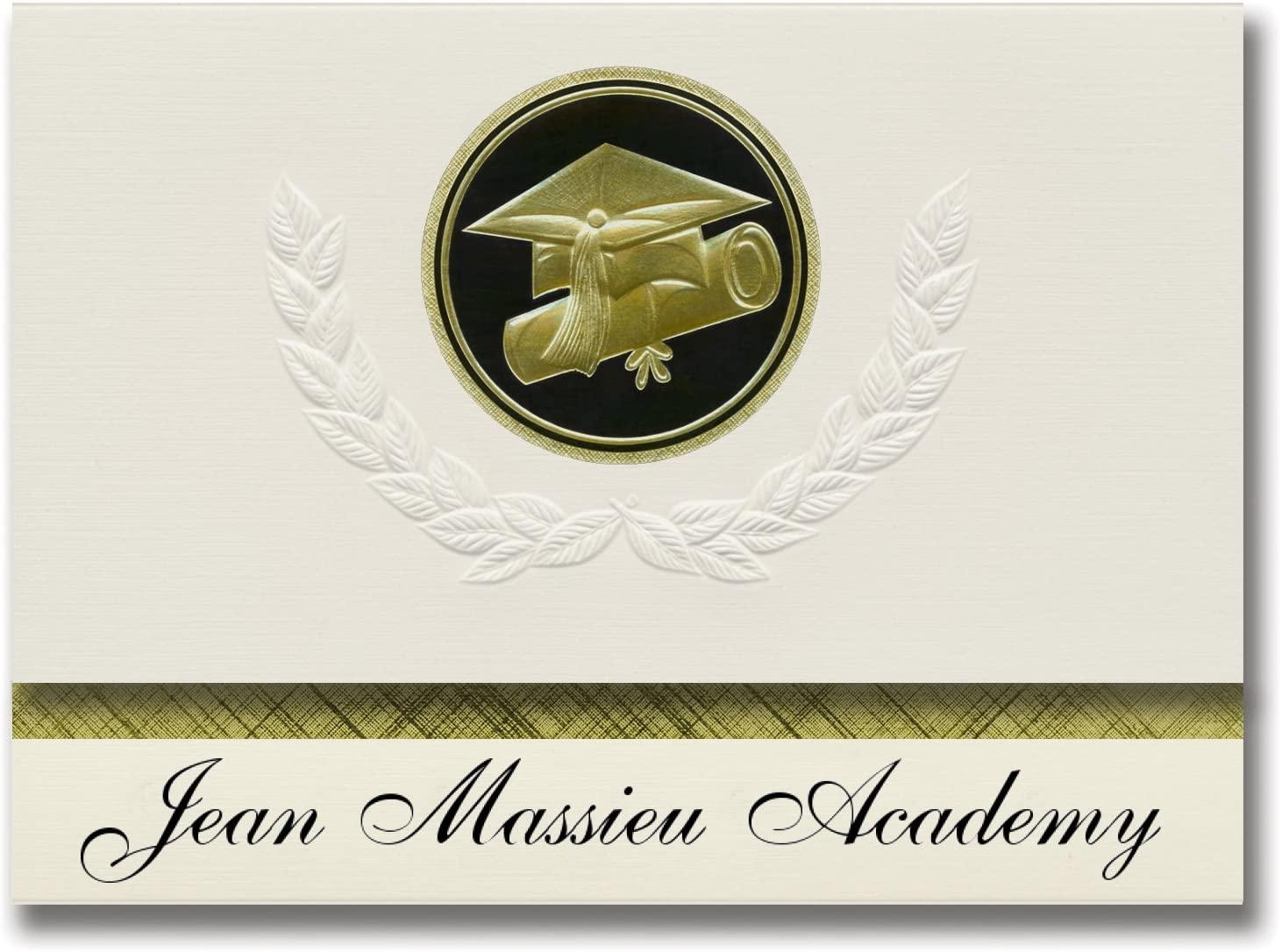 Signature Announcements Jean Massieu Academy (Arlington, TX) Graduation Announcements, Presidential style, Elite package of 25 Cap & Diploma Seal Black & Gold
