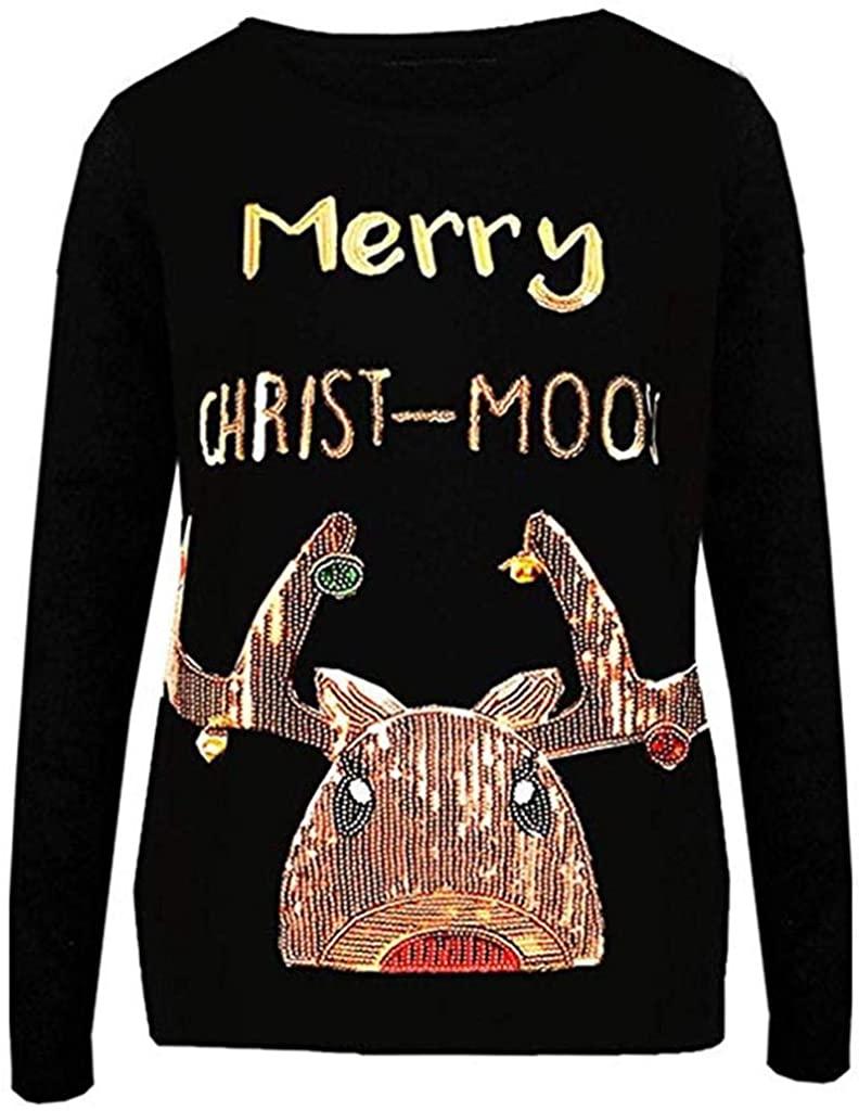 terbklf Sequin Tops for Women Women's Sweatshirt Ladies Cute Funny Shirt Blouse Tops Christmas Pullover for Women