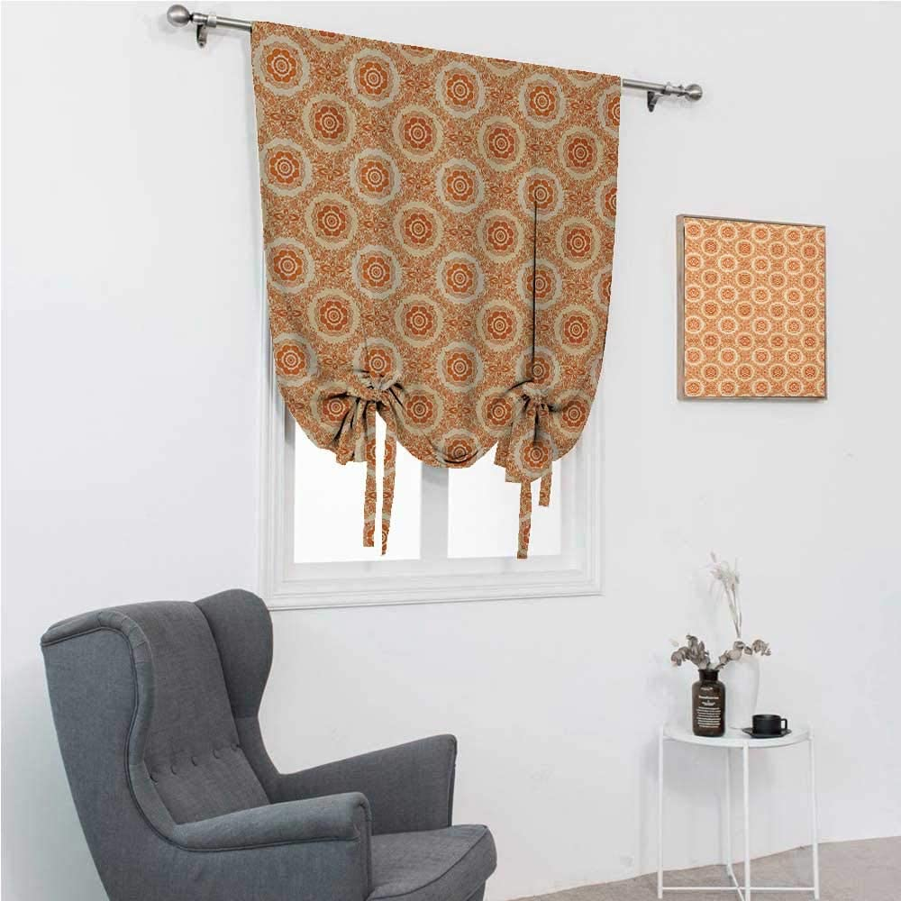 GugeABC Window Shades Orange and Beige Bathroom Curtain Tie Up Shade Ornamental Baroque Leaves and Flowers Victorian Vintage Pattern 48