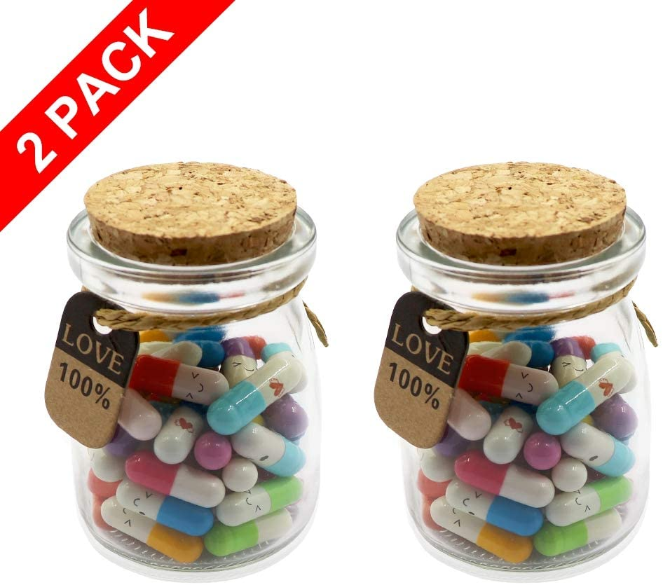 Mezhixin 100Pcs Capsule Letters Message in 2 Glass Bottles, Cute Smiling Face Love Friendship Letter Color Pill with Wishing Bottle, Message Pills for Boys Girls Friends