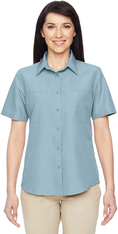 Harriton Ladies' Key West Short-Sleeve Performance Staff Shirt XS CLOUD BLUE