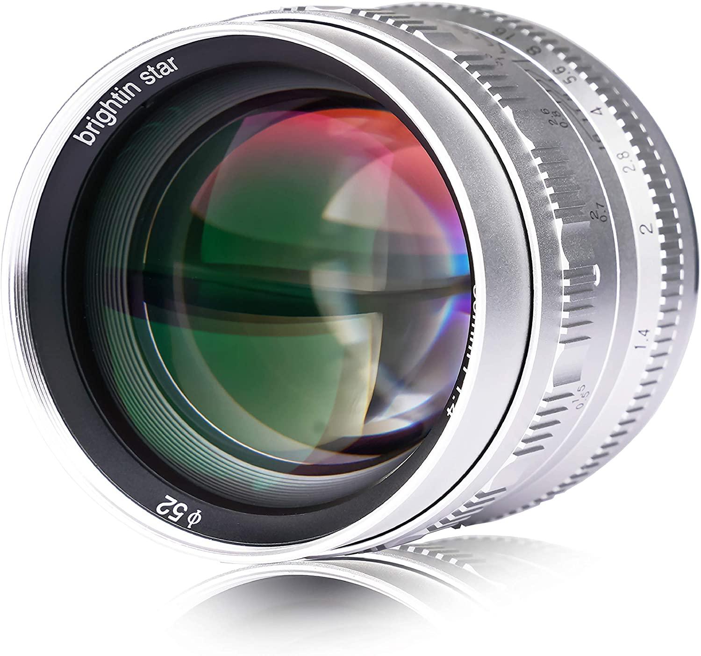 Brightin Star 50mm F1.4 APS-C Large Aperture Manual Focus Lens Mirrorless Cameras Lens Fuji FX Mount Cameras X-PRO1 X-PRO2 X-E1 X-E2 X-E3 X-H1 X-T1 X-T10 X-T2 X-T3 X-A1 X-A1O X-A2 .ect (Fuji, Silver)