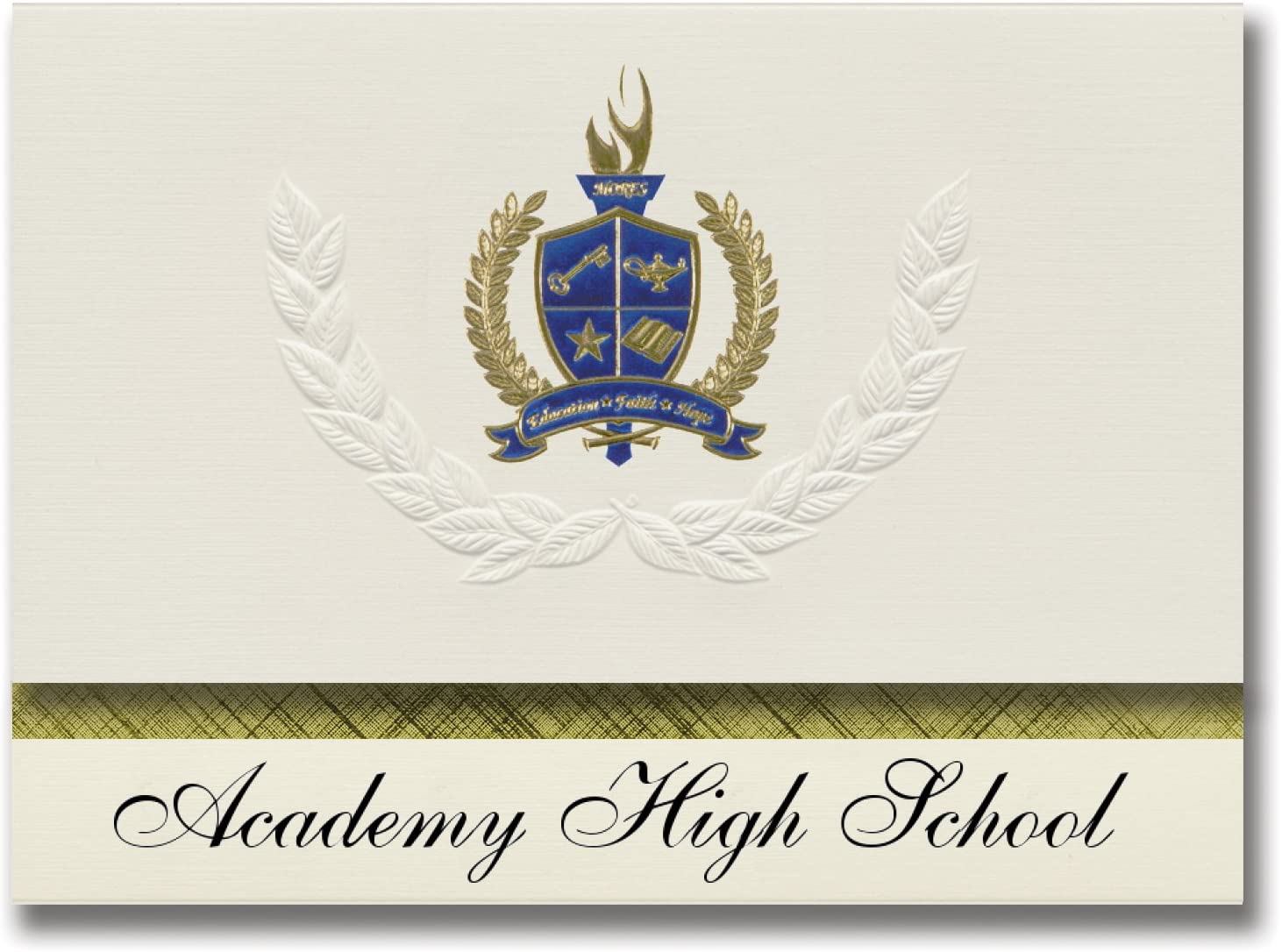 Signature Announcements Academy High School (Thornton, CO) Graduation Announcements, Presidential style, Basic package of 25 with Gold & Blue Metallic Foil seal