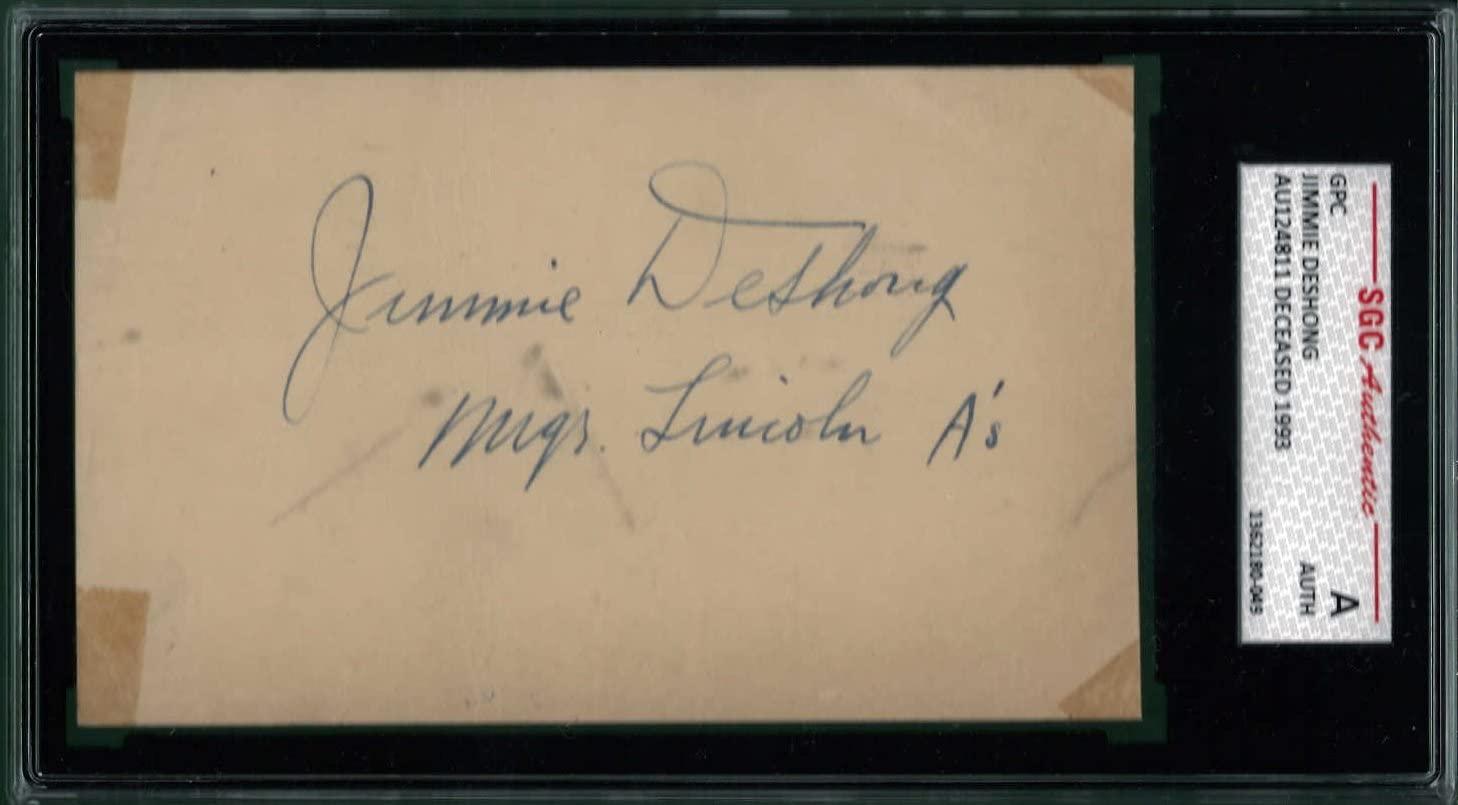 Jimmie Deshong Signed 1949 GPC SGC Encapsulated