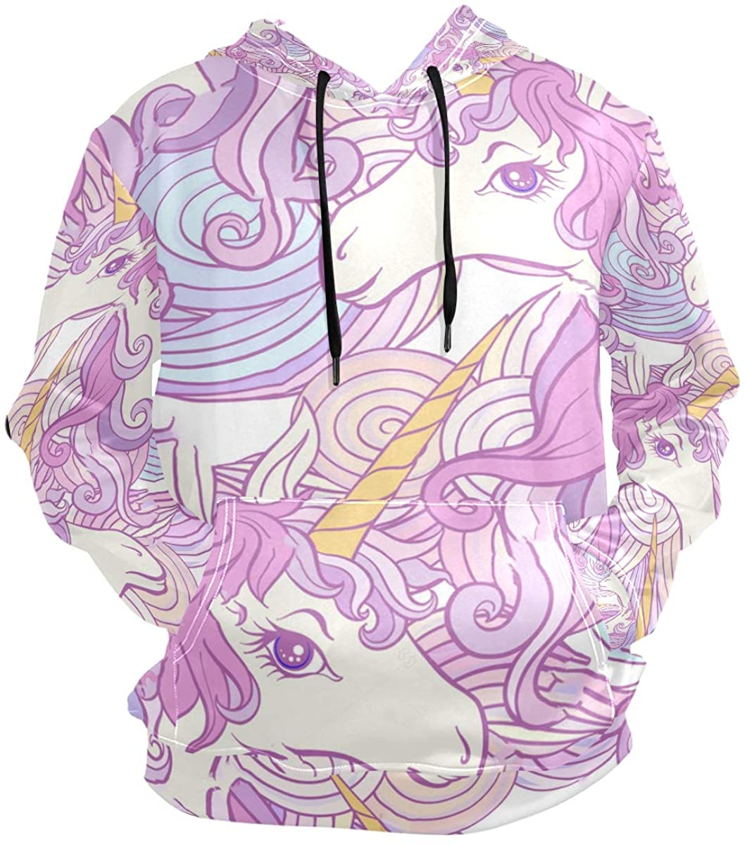 SLHFPX 3D Hoodie Unicorn Rainbow Pullover Hooded Sweatshirts Long Sleeve Shirt