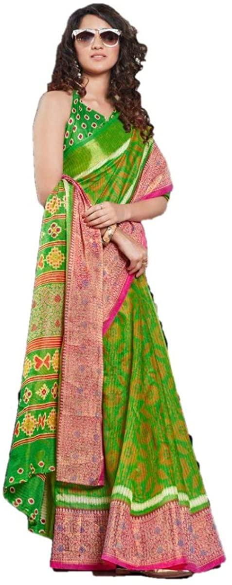 Ethnic Wear Traditional Silk Saree Cotton Linen Silk Saree Party Wear Saree Wedding Saree 1192 Green