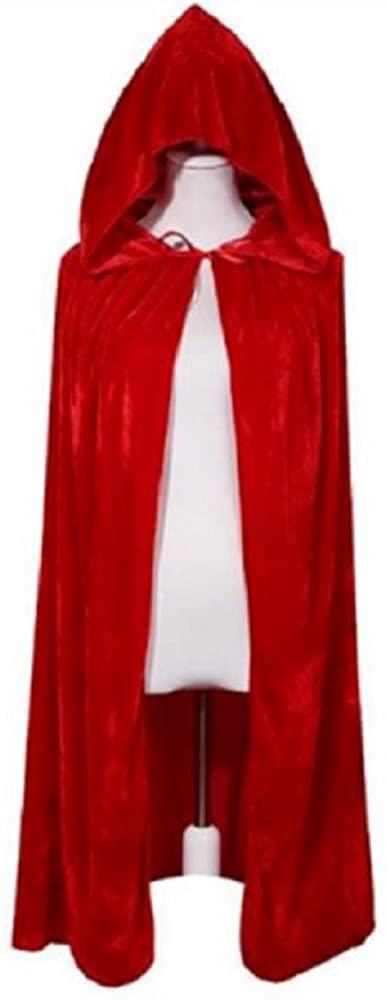P's-JAPAN Kids Velvet Hooded Cloak Cape Cosplay(80cm /31.50 inches, Red)