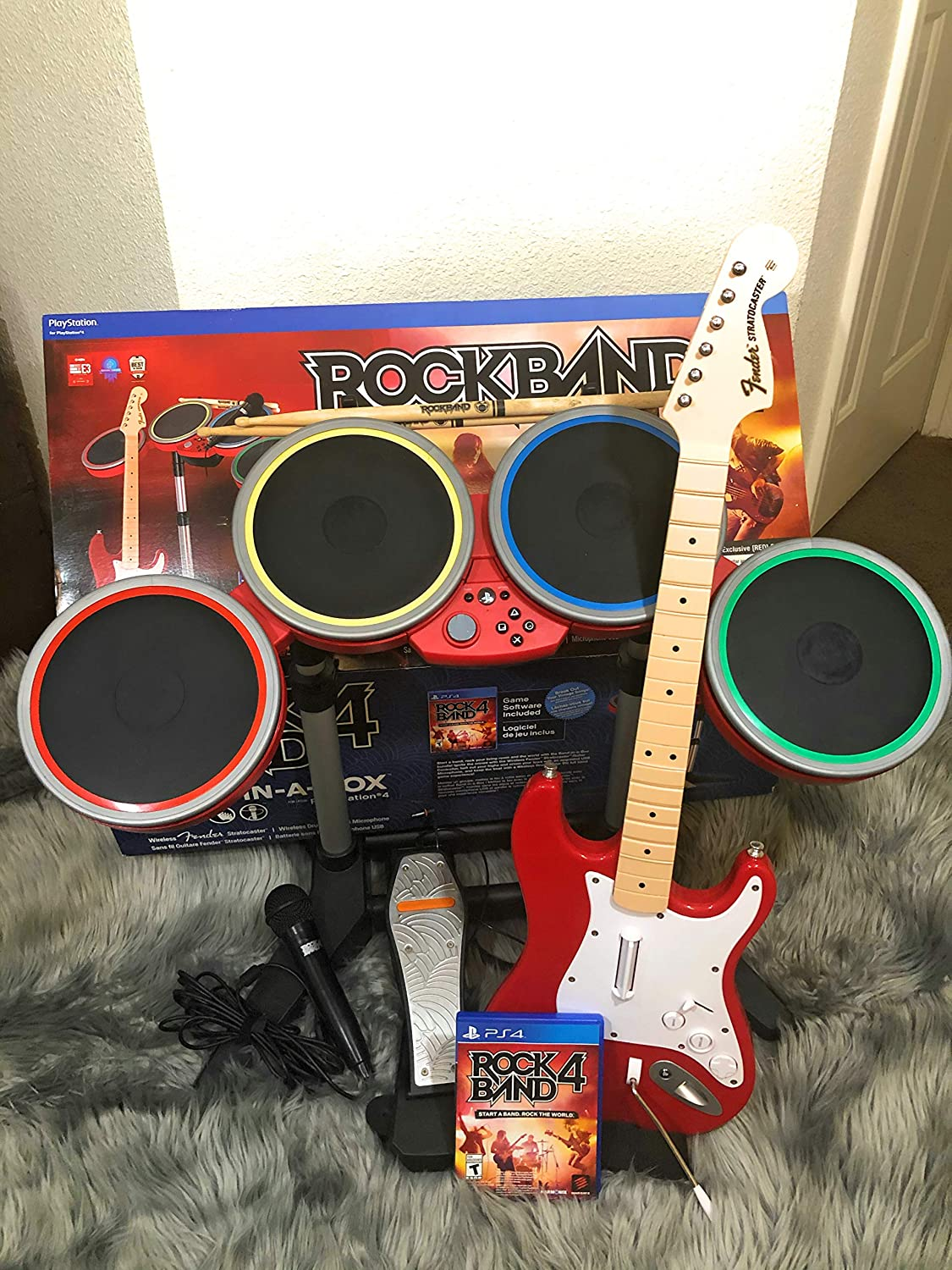 Playstation 4 Rock Band 4 Exclusive RED Band In-A-Box Bundle