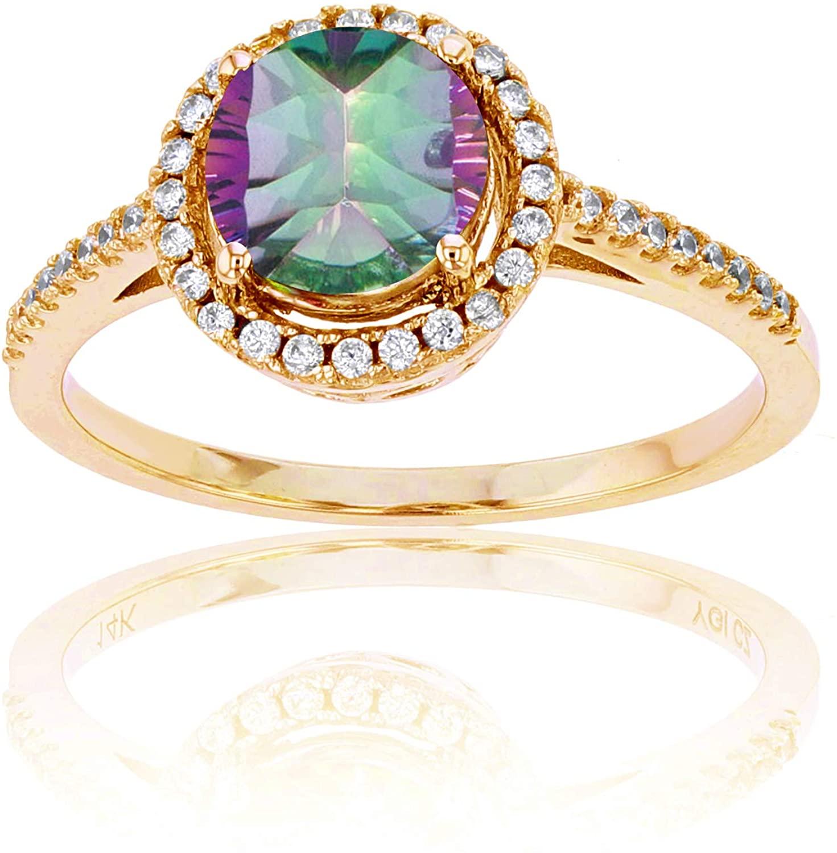 Sterling Silver Yellow 1mm Cr White Sapphire & 7mm Rnd Mystic Green Quartz Halo Ring