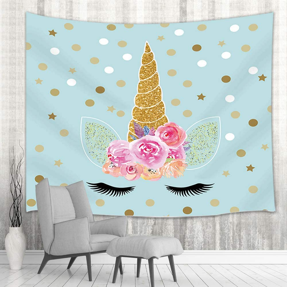 NYMB Fantasy Unicorn Wall Tapestry, Magic Teen Girl Unicorn Head with Floral Flower in Turquoise for Kids Tapestry Wall Hanging, Wall Blanket, Tapestries for Bedroom Living Room Dorm, 71X60in