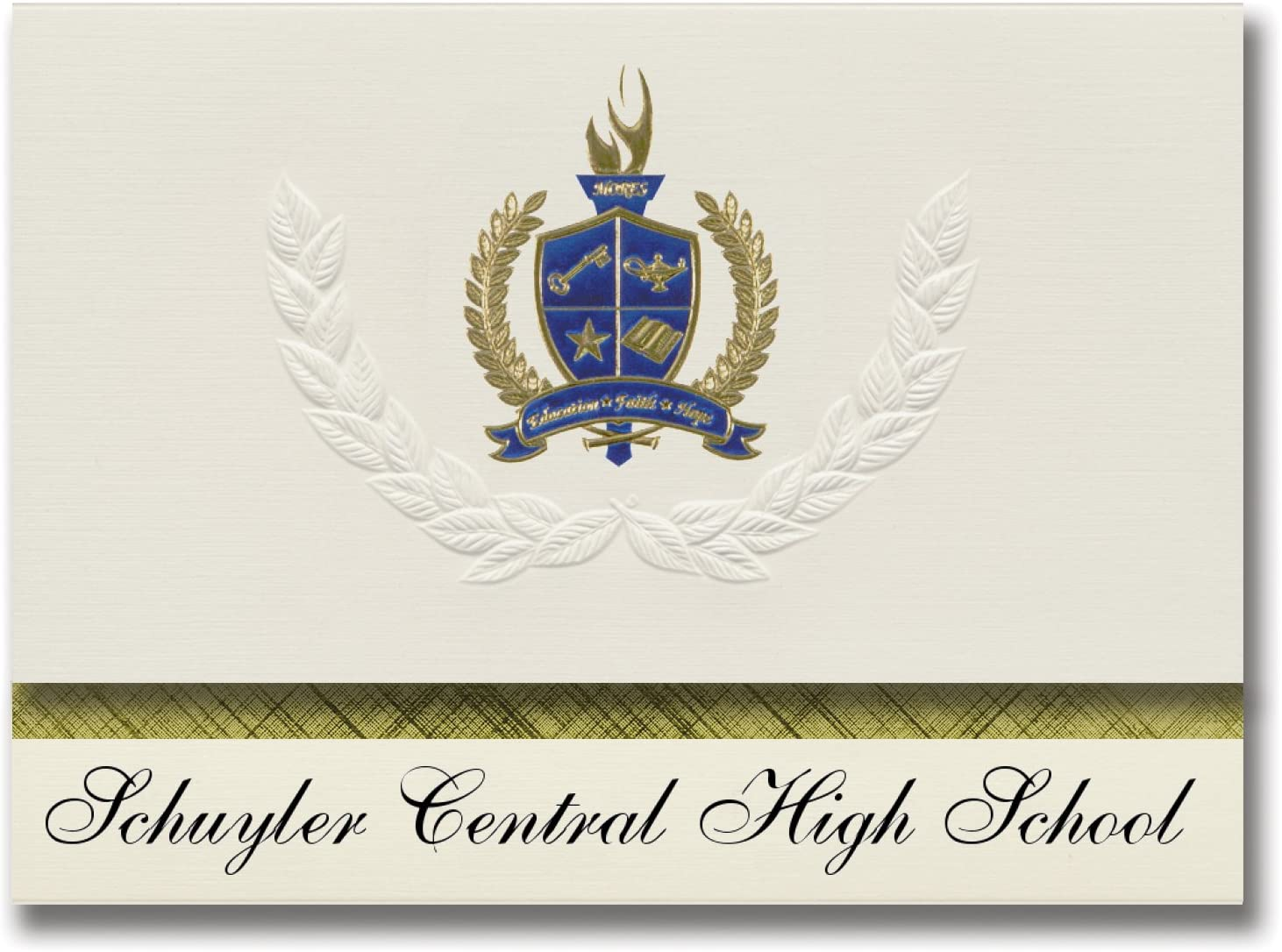 Signature Announcements Schuyler Central High School (Schuyler, NE) Graduation Announcements, Presidential style, Basic package of 25 with Gold & Blue Metallic Foil seal