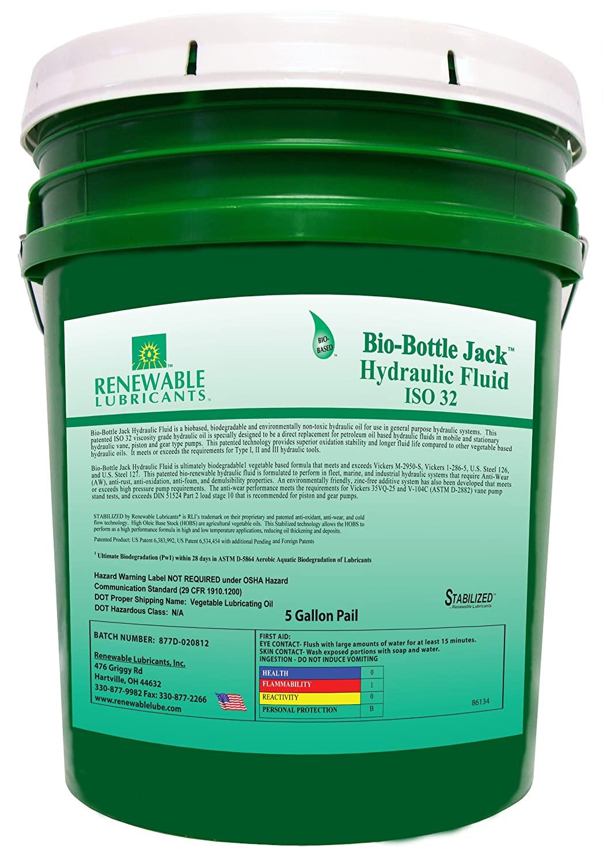 Renewable Lubricants Bio-Bottle Jack ISO 32 Hydraulic Lubricants, 5 Gallon Pail