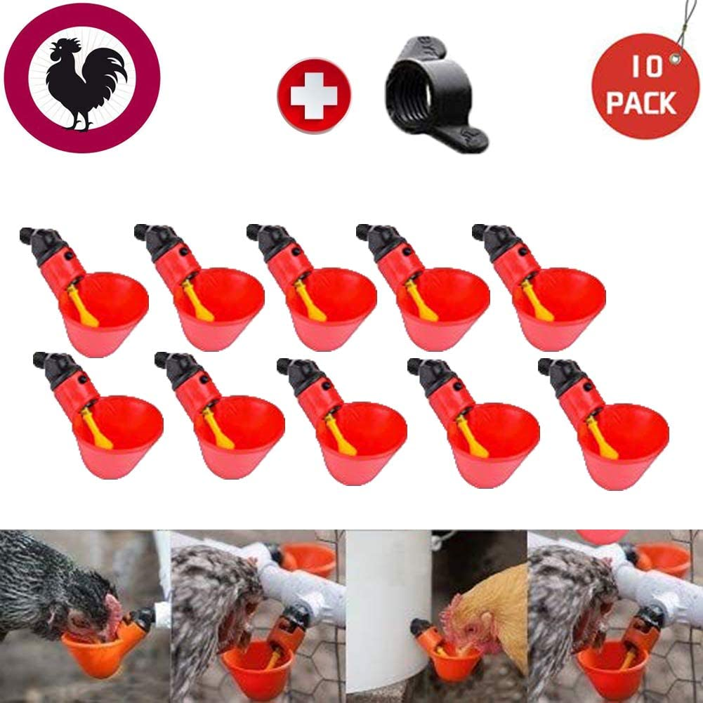 Poultry Waterer Chicken Water Cups Plastic Backyards Chicken Waterer Drinking Cups Bowls,Float Style Gravity Feed Waterers