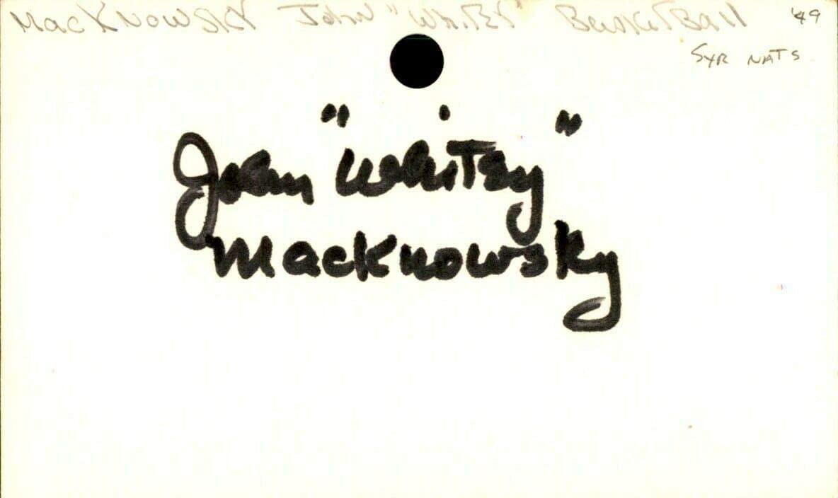 John Macknowsky Signed Index Card 3x5 Autographed Nats 60686