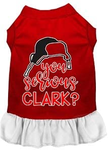 Mirage Pet Product You Serious Clark? Screen Print Dog Dress Red with White XS
