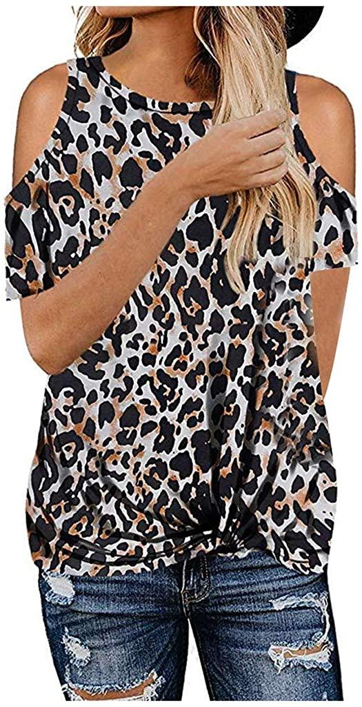 HDGTSA Womens Leopard Print Tops Short Sleeve Cold Shoulder Tunics Round Neck Casual T Shirts