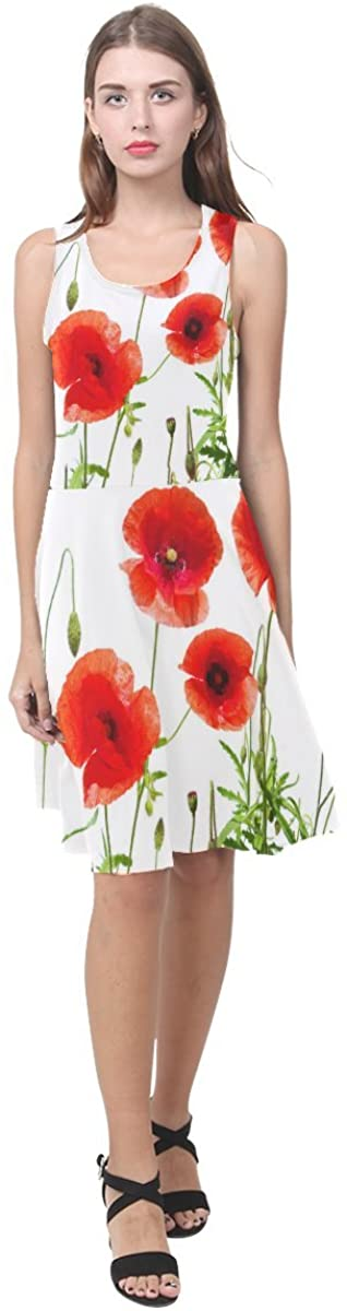 Design with Beautiful Red Poppy Flower Pattern for Women Girls Casual Sundress(XS-3XL)