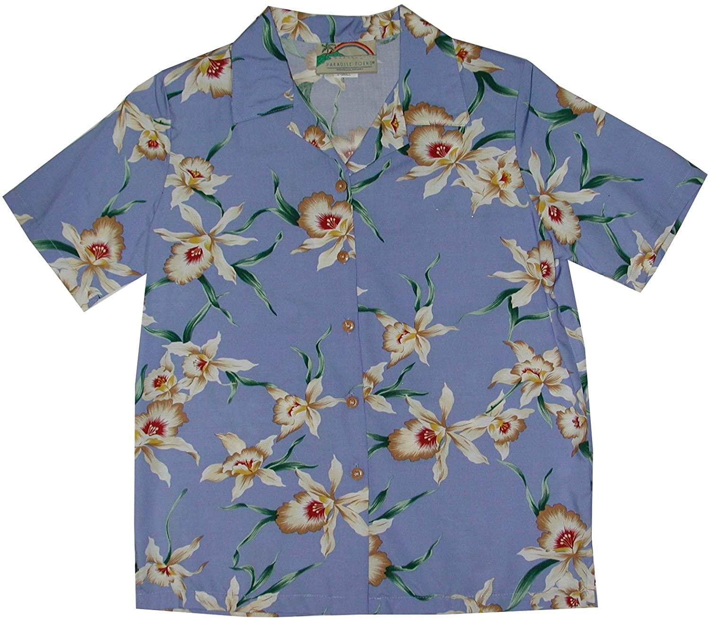 Star Orchid Women's Hawaiian Aloha Shirt in Periwinkle - XS