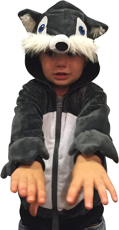 ComfyCamper Wolf Costume Animal Play Sweatshirt Hoodie Boys / Girls (2-4 Years)