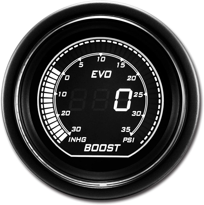 EVO series Electronic Boost Gauge PSI White Green Backlit included Sensor kits