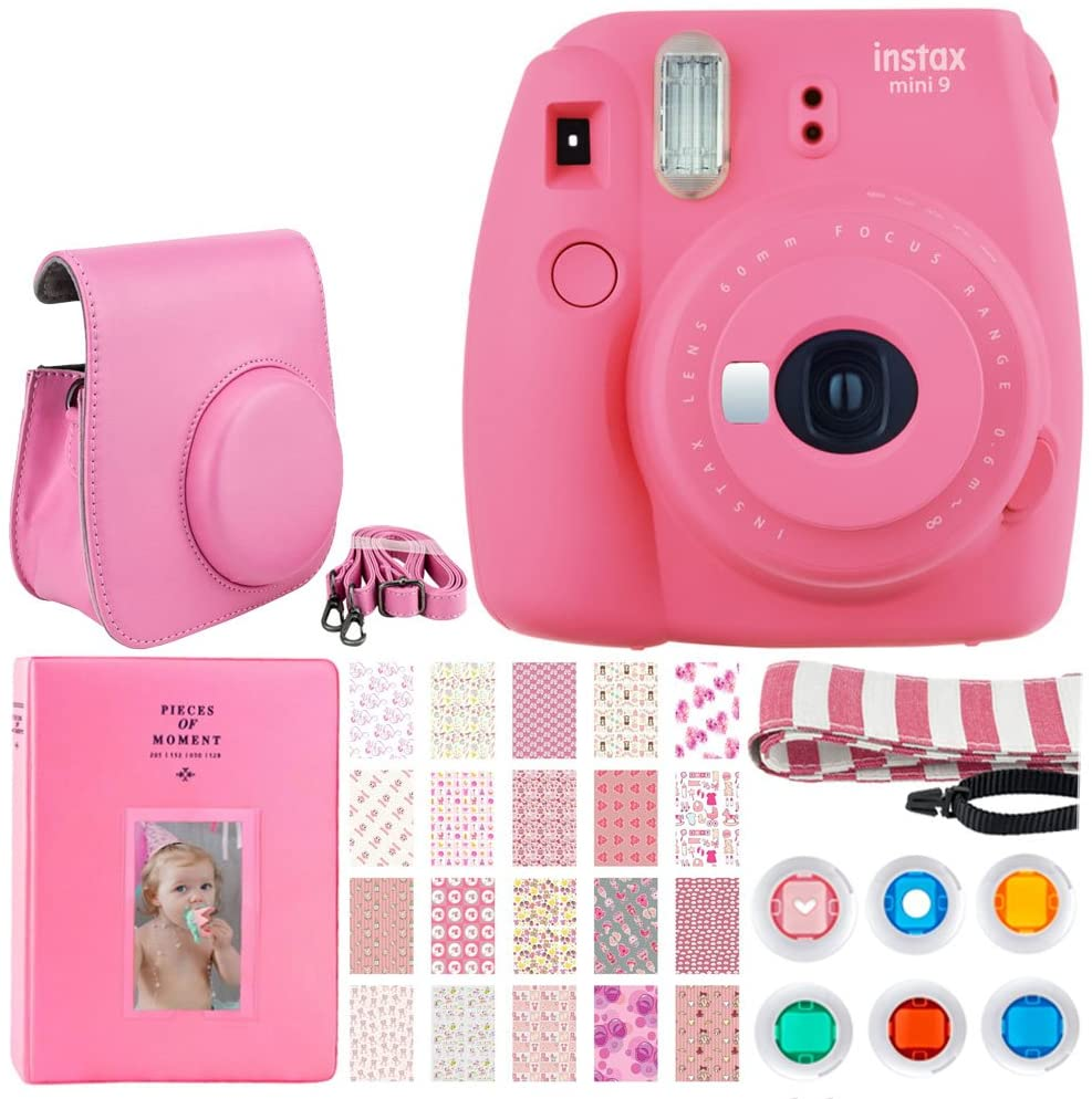 Fujifilm instax Mini 9 Instant Film Camera (Flamingo Pink) + Button Closure Case with Strap + Album 128 Pockets + 6 Colored Filters + 20 Sticker Frames for Fuji Prints Baby Girl + Striped Neck Strap