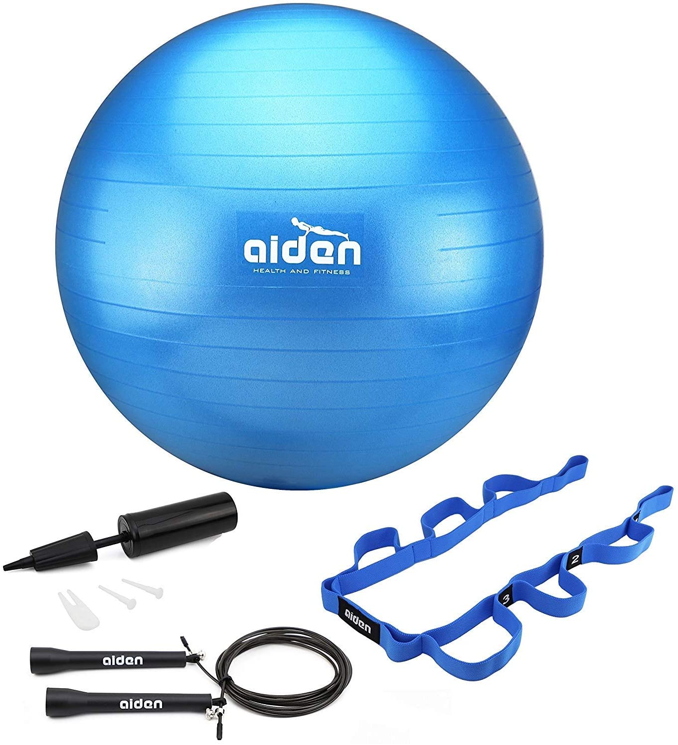 OLIVIA & AIDEN Exercise Ball Set - 65cm Anti-Burst Balance Ball for Yoga, Pilates, Birthing, Stability Training and Physical Therapy   Includes Stretch Band, Jump Rope and Air Pump