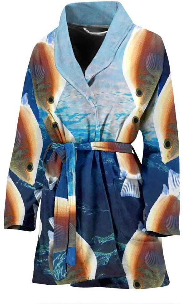 Kissing Gourami Fish Bird Print Women's Bath Robe