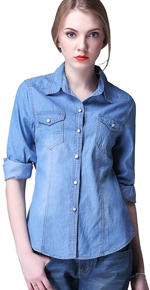 Mlotus Ladies Long Sleeve Button Down Slim Denim Shirts Blouse Jean Shirt