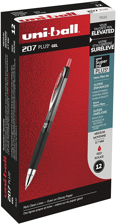207 Plus+ Retractable Gel Pens, Medium Point (0.7mm), Red, 12 Count