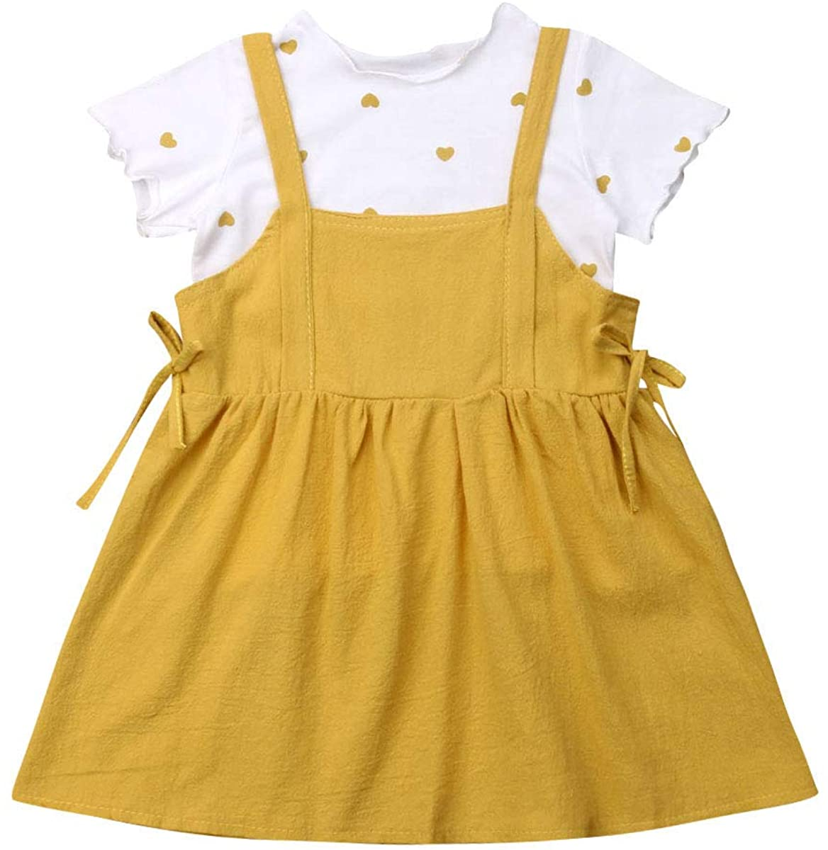 Toddler Kid Baby Girl 2PCS Playwear Skirt Set Print Heart T-Shirt with Suspender Dress Outfit