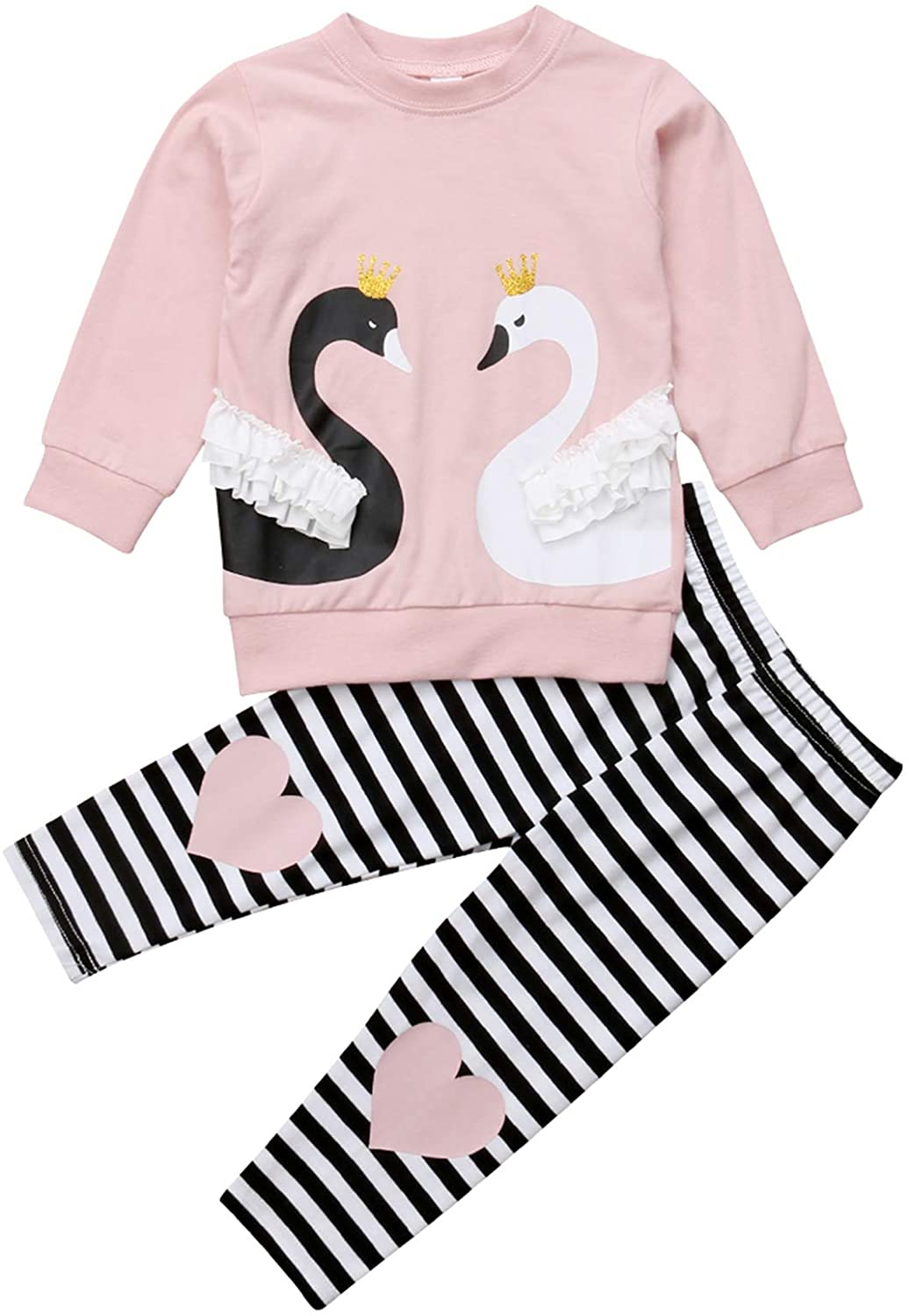 Urkutoba Long Sleeve Twain Swan Pattern Pullover Sweartshirt+Black&White Stripe Long Legging Pants Baby Girl 2pcs Outfit